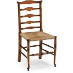Triangular Detail Ladder Back Chair With Rush Seat Side