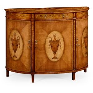 Adam Style Demilune Cabinet Satinwood