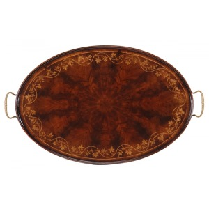 Oval Tray with Floral Inlay