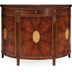 Crotch Mahogany Demilune Sideboard With Marquetry