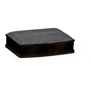 Anthracite Faux Shagreen Bronze Leaf Box