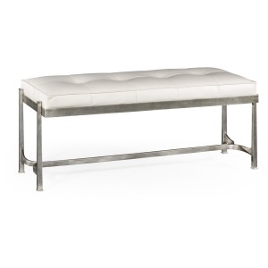 Silver Iron Leather Bench