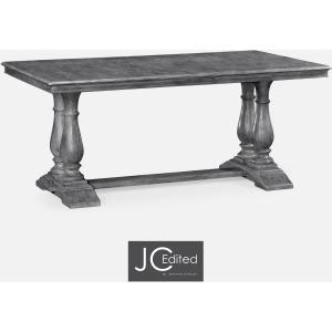 Antique Dark Grey Rectangular Fixed Top Dining Table