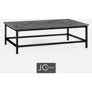 Antique Dark Grey Rectangular Coffee Table With Grey Silver Base