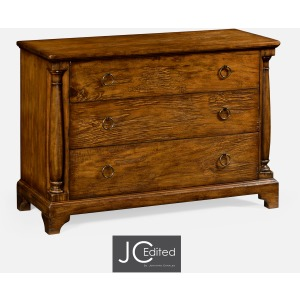 Country Walnut Large Chest Of Drawers