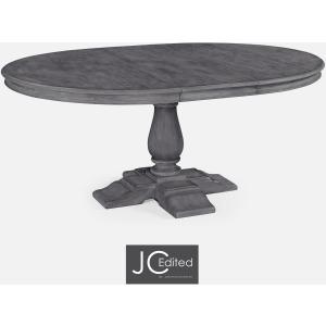 Antique Dark Grey Round Extending Dining Table