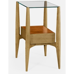 Rectangular Architects End Table w/Drawer & Glass Top