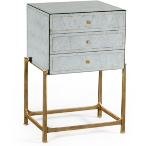 Églomisé & Gilded Iron Small Chest of Drawers