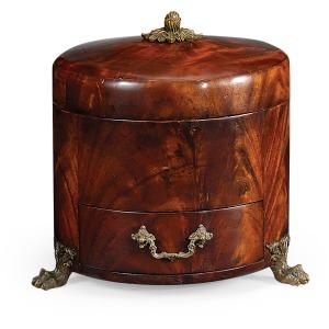 Crotch Mahogany Jewellery Round Box
