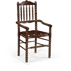 Bobbin Dark Oak Chair With Woven Leather Seat Arm