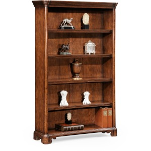 Walnut Tall Open Adjustable Bookcase Four Shelves Large