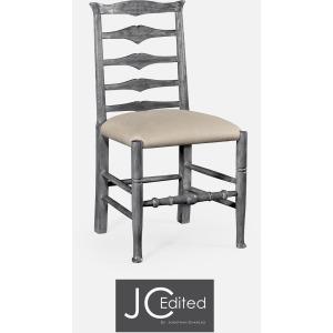 Antique Dark Grey Ladder Back Side Chair
