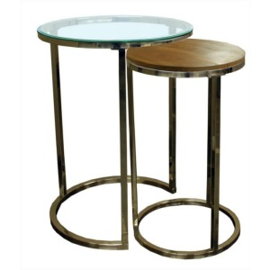 Brushed Nickel Nesting End Table