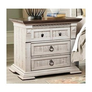 Nightstand - Old White w/Western Brown Top