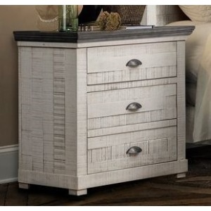 Nightstand - Old White w/Iron Gray Top