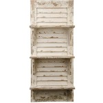 "39"" Distressed White Wood Shuttered Shelf Unit"