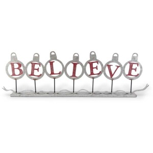 43.5 Inch Galvanized BELIEVE Ornaments Cutout on Spindles