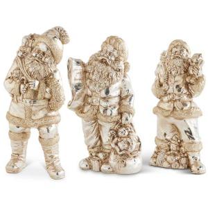 """10"""" Assorted Vintage Santa Figurines - Set of 3"""