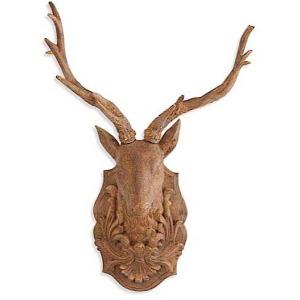 """19"""" Brown Resin Wall Mount Deer Head Plaque"""