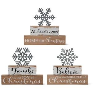 Assorted 2 Brick Tabletop Signs w/Cutout Galvanized Snowflakes