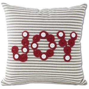 "11"" Square Grey & White Canvas Joy Pillow"