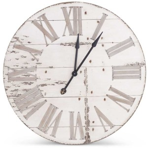 "36"" Round Antique White Wood Wall Clock w/ Roman Numerals"