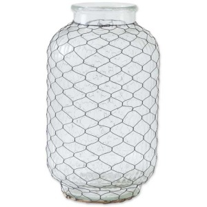 """15.5"""" Clear GLass Ribbed Wide Vase w/Metal"""