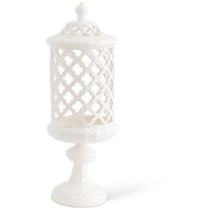"""18"""" White Ceramic Filigree Cylinder Shaped Container"""