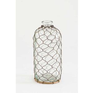10 Inch Glass Bottle w/ Wire Mesh Netting