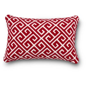 "12"" Rectangular Red & White Embroidered Pillow"