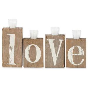 """Love"" Barn Board Bricks w/ 4 Light Holders"