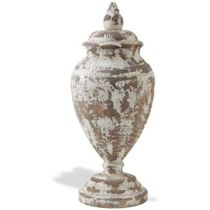 """18"""" Distressed White Washed Wood Urn Shaped Tabletop Finial"""