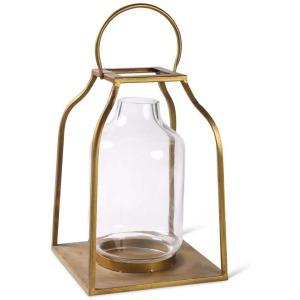 "18"" Lantern w/Gold Finish & Glass Hurricane"