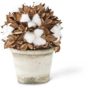 """10"""" Potted Cotton & Pod Ball"""