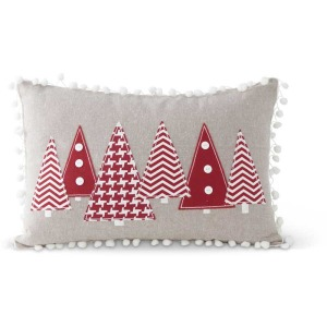 "16"" Rectangular Grey Pillow w/Red Christmas Trees"