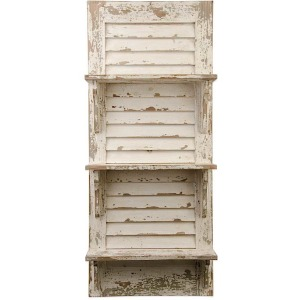 "39"" Distressed White Wood Shuttered Shelf Unit"