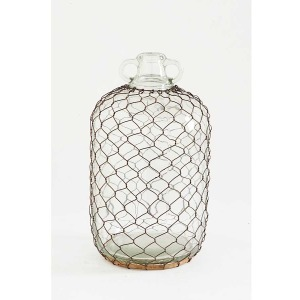 12.5 Inch Double Handle Glass Jug w/ Wire Mesh Netting