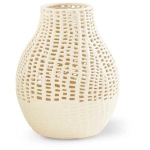"14"" White Ceramic Basket Weave Vase"
