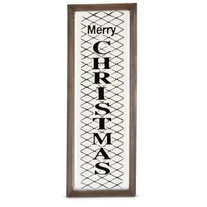 29.5 Inch Wood Framed White & Black Enamel MERRY CHRISTMAS Sign