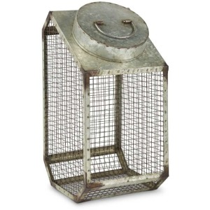 17 Inch Galvanized Wire Container w/Metal Lid