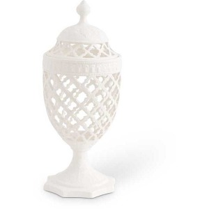 """17"""" White Ceramic Filigree Lidded Urn Shaped Container"""