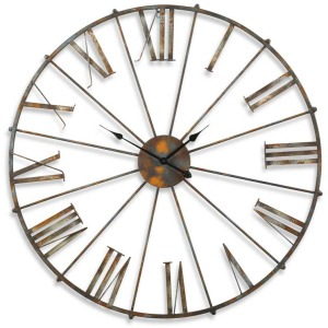 38.5 Inch Rustic Metal Open Faced Wall Clock