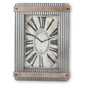 33 Inch Corrugated Metal Clock w/Wood Trim
