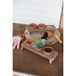 Three Terracotta Flower Pots w/Wooden Base
