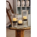 Original Glass Candle Cylinder w/ Rustic Insert - Small