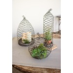SET OF 3 WILD WIRE CLOCHES WITH CLAY BASES