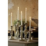 ANTIQUED SILVER GLASS TAPER CANDLE HOLDER 13\