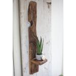 Tall Recycled Wood Wall Shelf