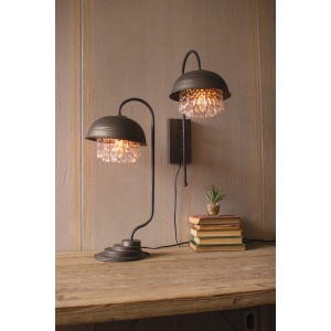 Metal Dome Table Lamp with Gems Detail