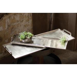 Large Aluminum Platter - Antique Silver